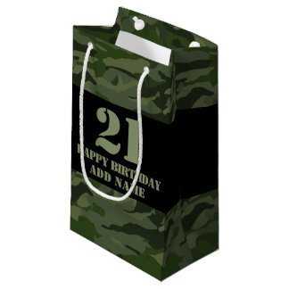 Khaki camouflage small gift bag