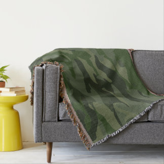 Khaki camouflage throw blanket