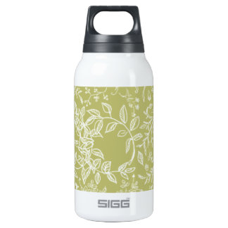 Khaki floral blossom pattern insulated water bottle