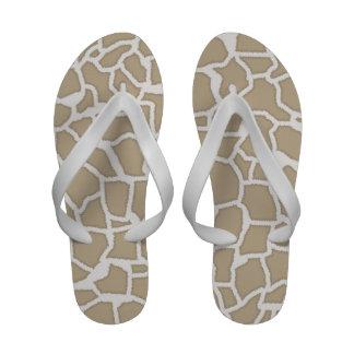 Khaki Giraffe Animal Print Flip-Flops