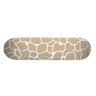 Khaki Giraffe Animal Print Skateboard Deck