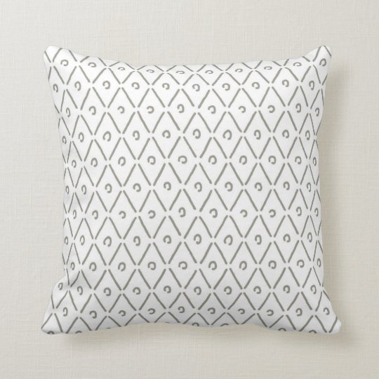 Khaki Green and White Diamond Pattern Throw Pillow