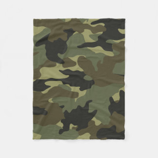Khaki Green Camo Military Custom Fleece Blankets