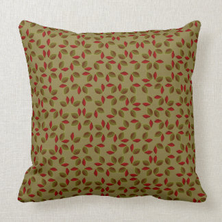 Khaki Green Small Leaf Print Indoor Pillow 20x20