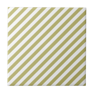 Khaki Green Solid Color & White Stripes Tile