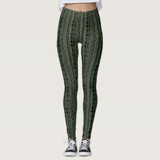 Khaki Green Vertical Tribal Print Leggings