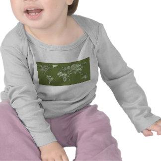 Khaki green world map t shirt