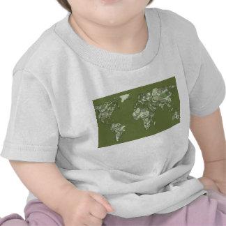 Khaki green world map t shirts