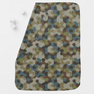 Khaki hexagon camouflage baby blanket
