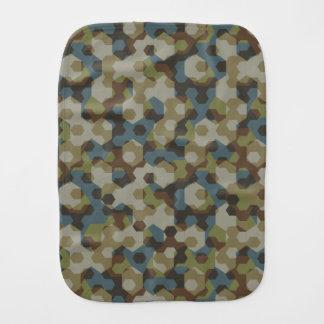 Khaki hexagon camouflage burp cloth