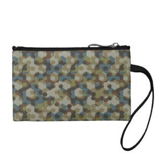 Khaki hexagon camouflage coin purse