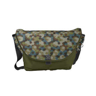 Khaki hexagon camouflage commuter bag