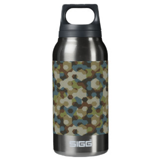 Khaki hexagon camouflage insulated water bottle