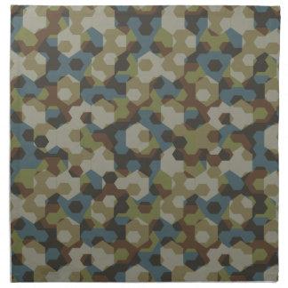 Khaki hexagon camouflage napkin
