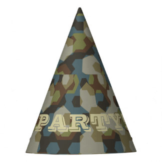 Khaki hexagon camouflage party hat