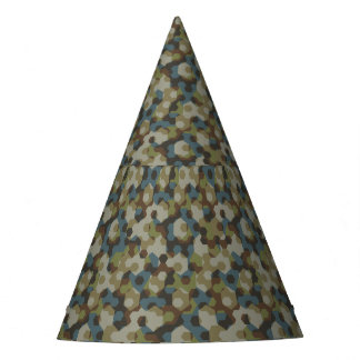 Khaki hexagon camouflage party hat
