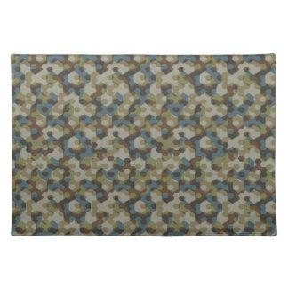 Khaki hexagon camouflage placemat