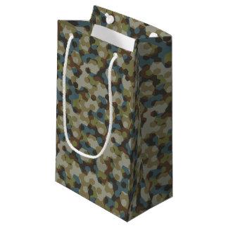 Khaki hexagon camouflage small gift bag