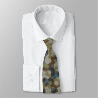 Khaki hexagon camouflage tie