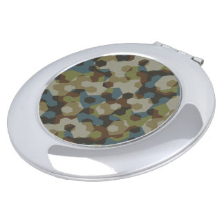 Khaki hexagon camouflage travel mirror