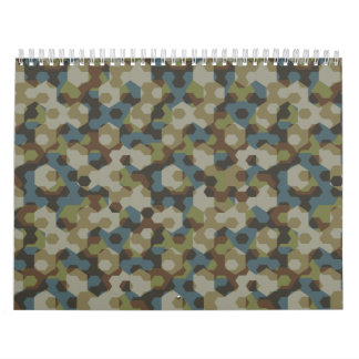 Khaki hexagon camouflage wall calendars