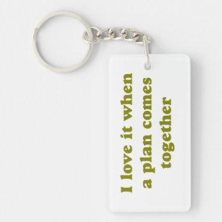 Khaki I Love It Rectangle Acrylic Keychains