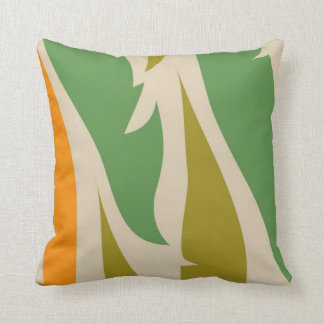 Khaki, Mint Green & Orange Jungle Leaf Pillow