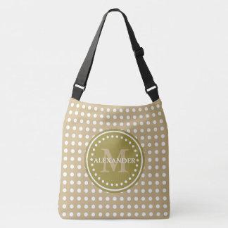 Khaki Olive Green Polka Dot Monogram Diaper Bag
