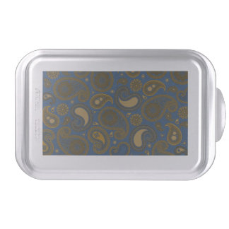 Khaki Paisley on Blue Jean motif Cake Pan