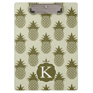 Khaki Pineapple Pattern   Add Your Initial Clipboards