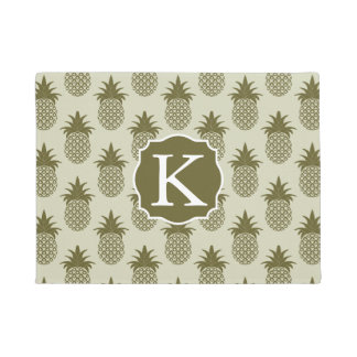 Khaki Pineapple Pattern | Add Your Initial Doormat