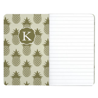 Khaki Pineapple Pattern | Add Your Initial Journals