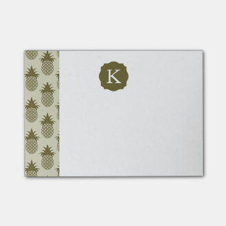 Khaki Pineapple Pattern | Add Your Initial Post-it® Notes