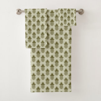 Khaki Pineapple Pattern Bath Towel Set