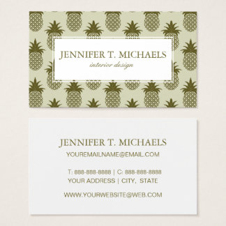 Khaki Pineapple Pattern Business Card