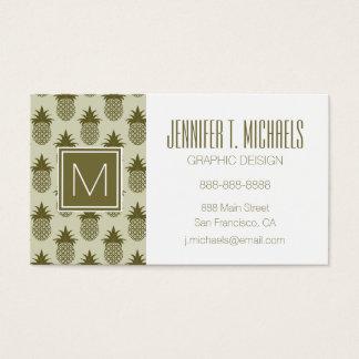 Khaki Pineapple Pattern Business Card