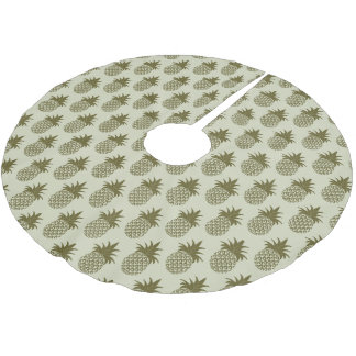 Khaki Pineapple Pattern | Monogram Brushed Polyester Tree Skirt