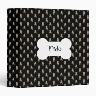 Khaki Pug Silhouettes on Black Background Binders