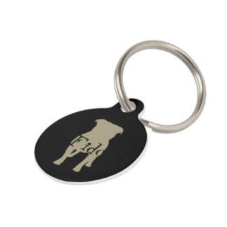 Khaki Pug Silhouettes on Black Background Pet Tags
