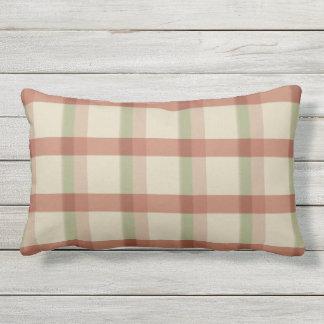 Khaki Rose Sage Check Outdoor Lumbar Pillow
