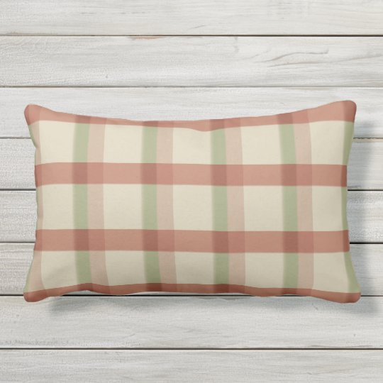 Khaki Rose Sage Check Outdoor Lumbar Pillow