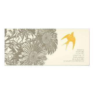 Khaki Vintage Flower and Goldenrod Bird Wedding Card