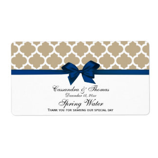 Khaki, White Moroccan Navy Bow Party Water Label Shipping Label