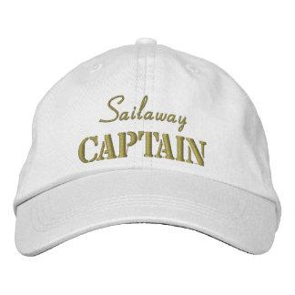 Khaki White Nautical Captain Custom Embroidered Hat