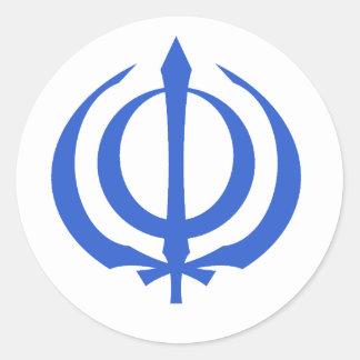 Khanda-Blue Classic Round Sticker