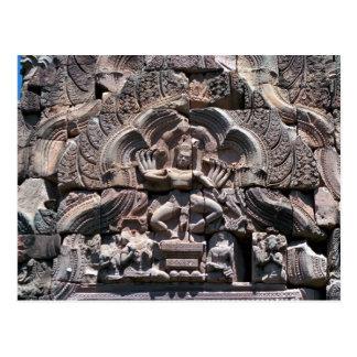 Khmer ruins, dancing Shiva above Vishnu Lintel, Th Postcard