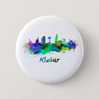 Khobar skyline in watercolor 2 inch round button