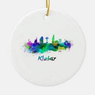 Khobar skyline in watercolor ceramic ornament