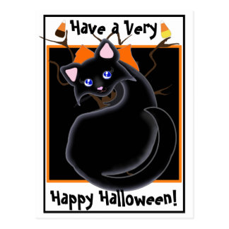 Kiara Toon Kitty Black Cat With Tree Postcard