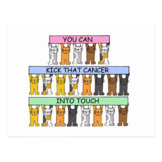 Kick cancer into touch cartoon cats. postcard